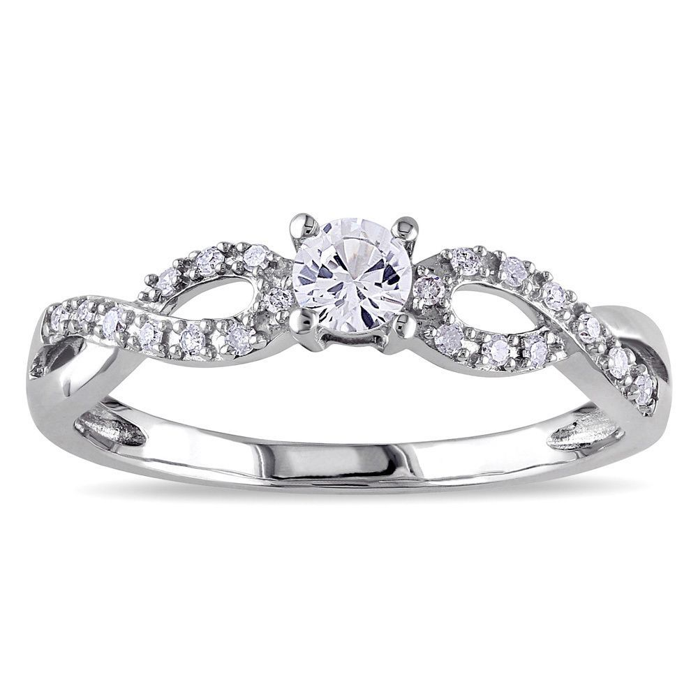 10ct Tdw Diamond  Crossover Engagement Ring (hi, I2i3) By Miadora