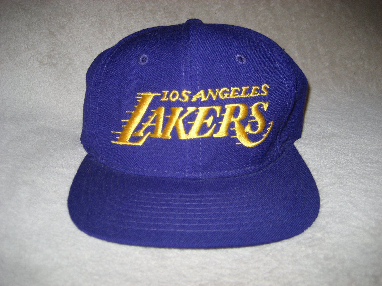 Sports Specialties Script Wool Snapback Hat Los Angeles Lakers 1990s Hats Vintage Lakers Hat Snapback Hats