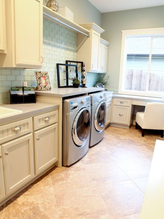 Laundry room varying countertop heights....would be good for folding laundry