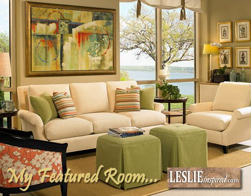 My Featured Room today showcases beautiful color combinations of coral and green teamed up with soft shades of cream. Would you like to know more about this Collection? Just contact me for more details.