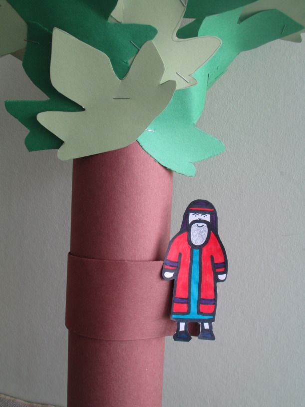 zacchaeus in the sycamore tree craft using a pringle