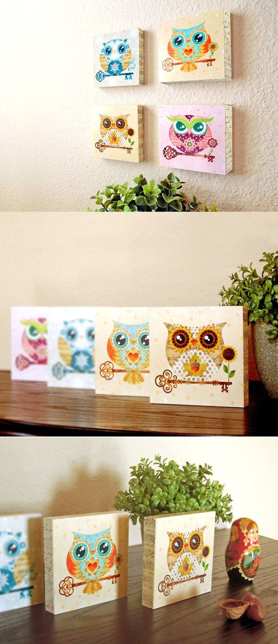 SALE Paper Owls Instant Collection - Set of 4 - Wooden Art Blocks. An instant collection ready to hang on your wall and thick enough to stand alone on your desk, mantel or shelf. #owlart #nursery  #artblocks  #mountedwoodblocks  #owlwoodblocks