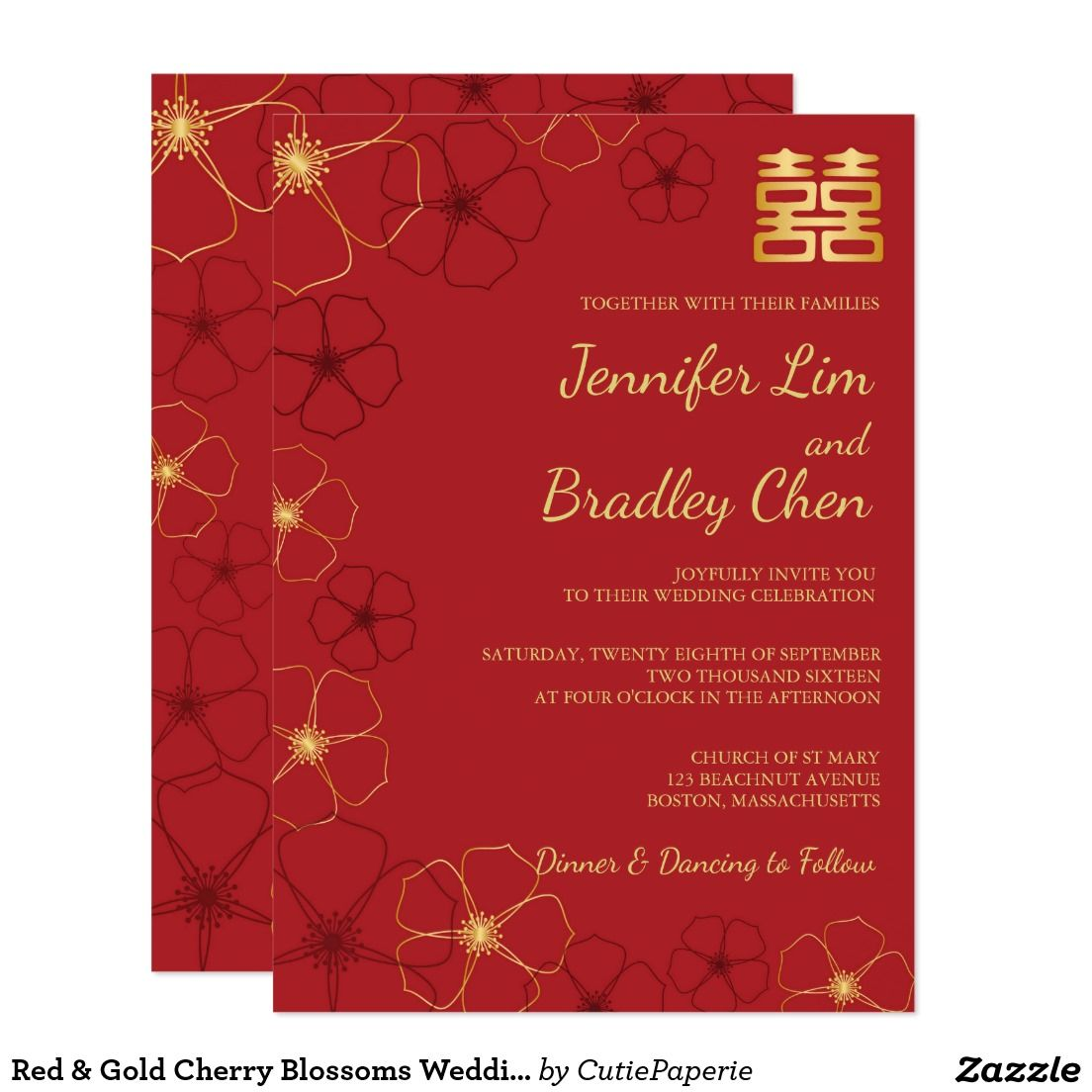 Red & Gold Cherry Blossoms Wedding Invitation Card | Wedding ...