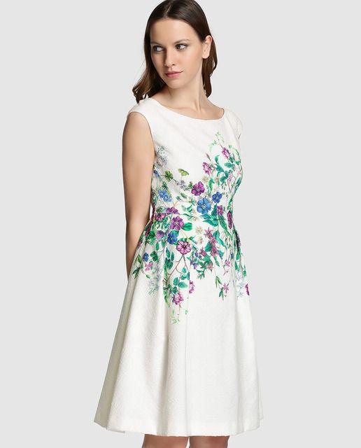 18957f9be Vestido de mujer Fiesta El Corte Inglés en jacquard con flores ...