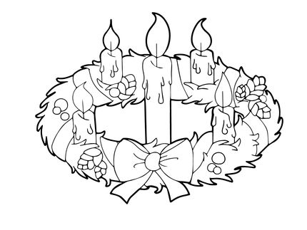Color Page Of Advent Candle Google Search Sunday School Colors Wreath Candles Christmas Coloring Pages