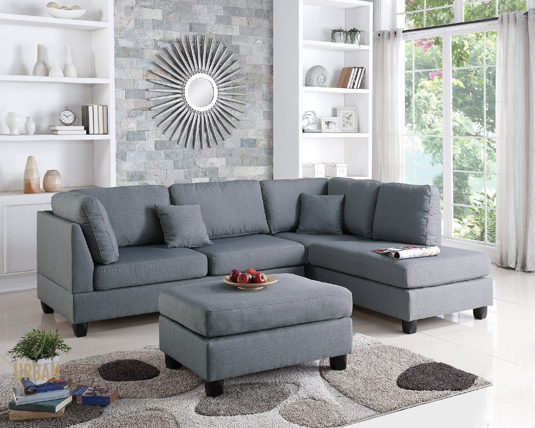 San Francisco Grey Linen Sectional Sofa With Reversible Chaise And