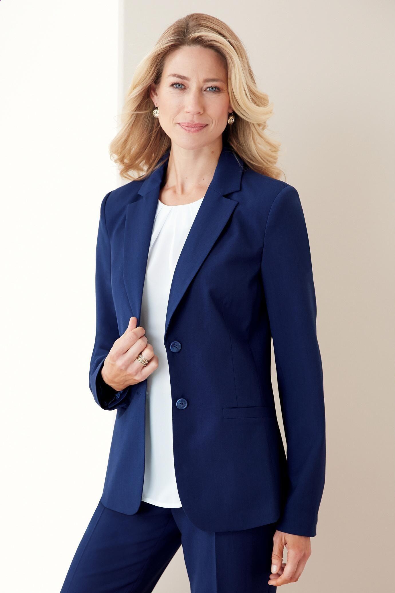 Women Blazer Suit Office Business Coat Long Sleeve Classical Formal Jacket Tops