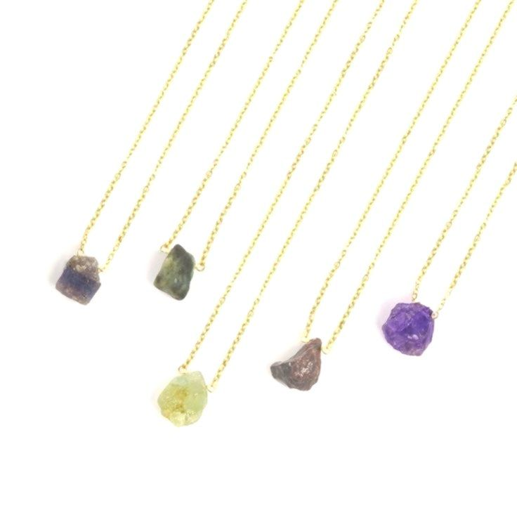 Raw Gemstone Necklace  Genuine Birthstone Jewelry  January February March April May June July August September October November December