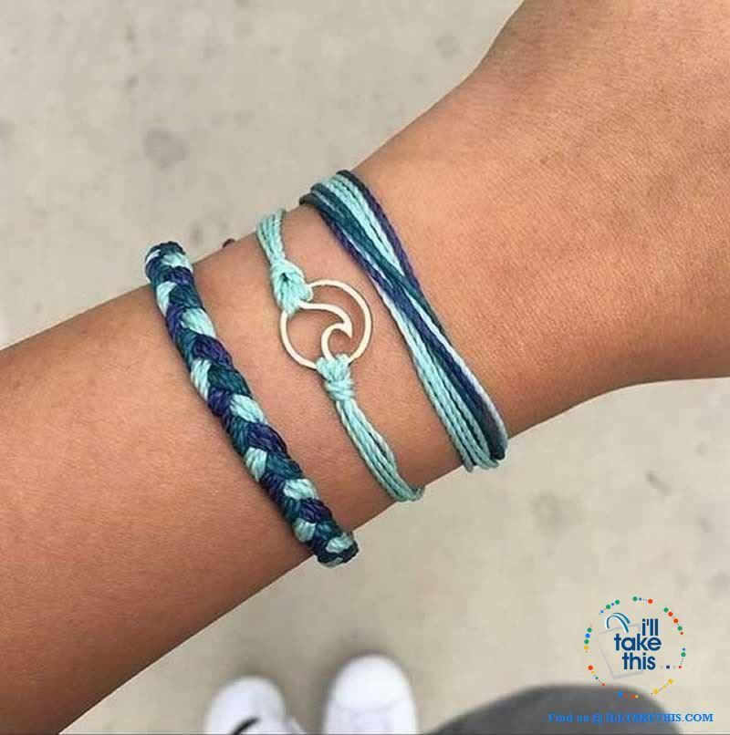 Navy Blue Waxed Cotton Cord Surfer//Friendship Bracelet Silver Heart Charm