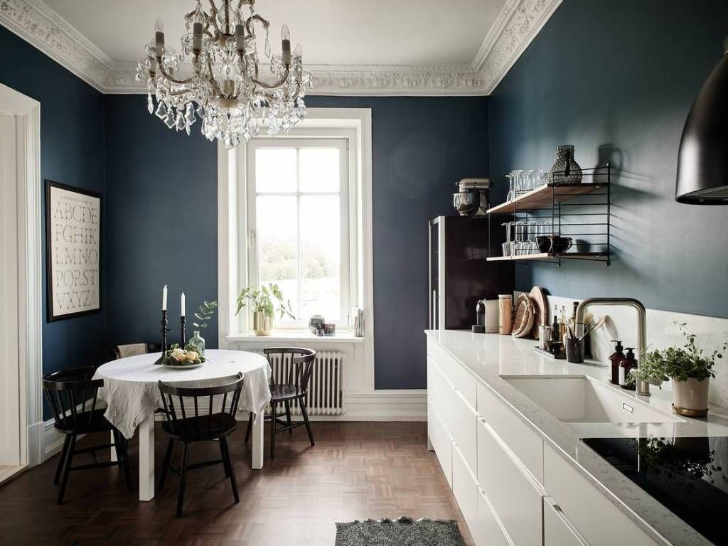 Petrol Blau Küche Kitchen With A Petrol Blue Wall - Coco Lapine Design | Blue Walls, Interior, Beige Wall Colors