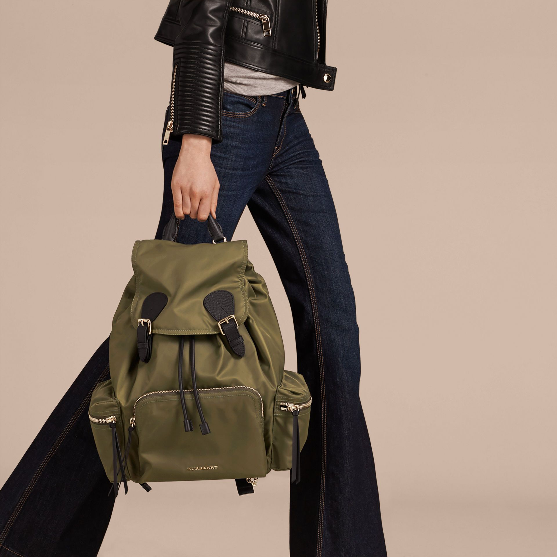 766a75fb9e22 The Large Rucksack in Technical Nylon and Leather Canvas Green | Burberry