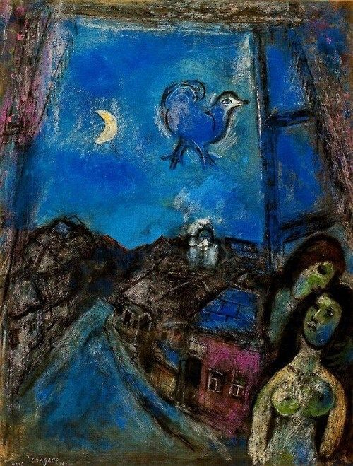 Marc Chagall, Noche en la ventana, 1950. Gouache sobre papel, 65 x 50 cm, Colección particular