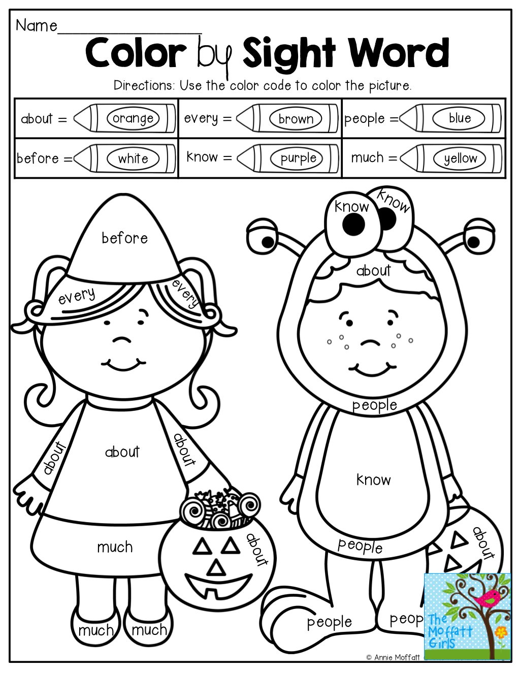 Halloween Color Word Worksheet For Kindergarten