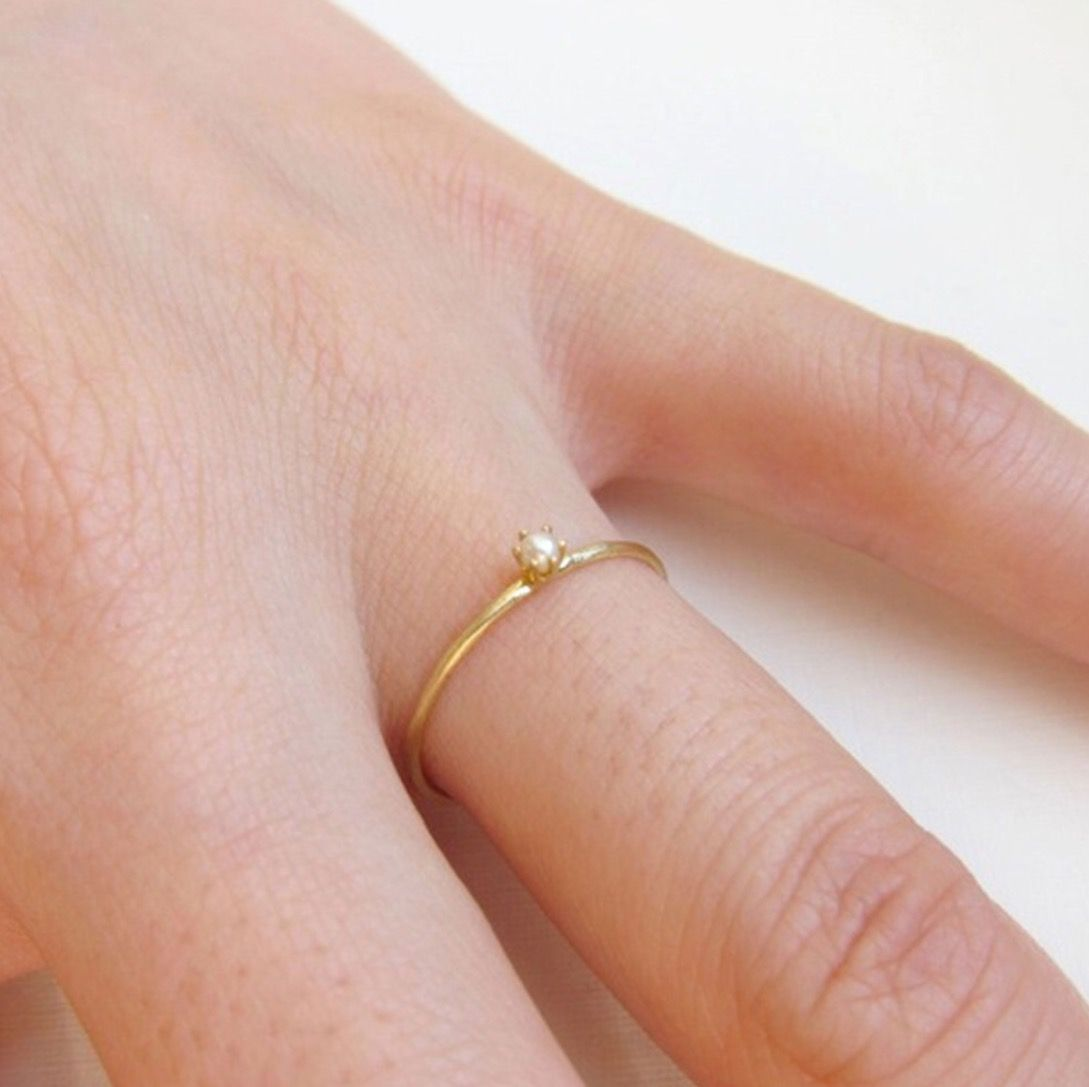 Tiniest Ring, Pearl by Catbird NYC | Dainty Jewelry | Pinterest ...