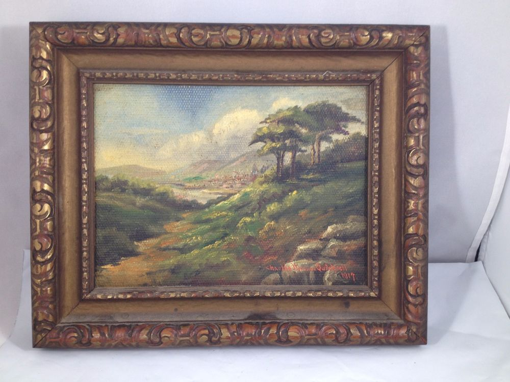 Orig Oil Painting Charles Wallace Quicksell 1917 Framed Canvas Board ...