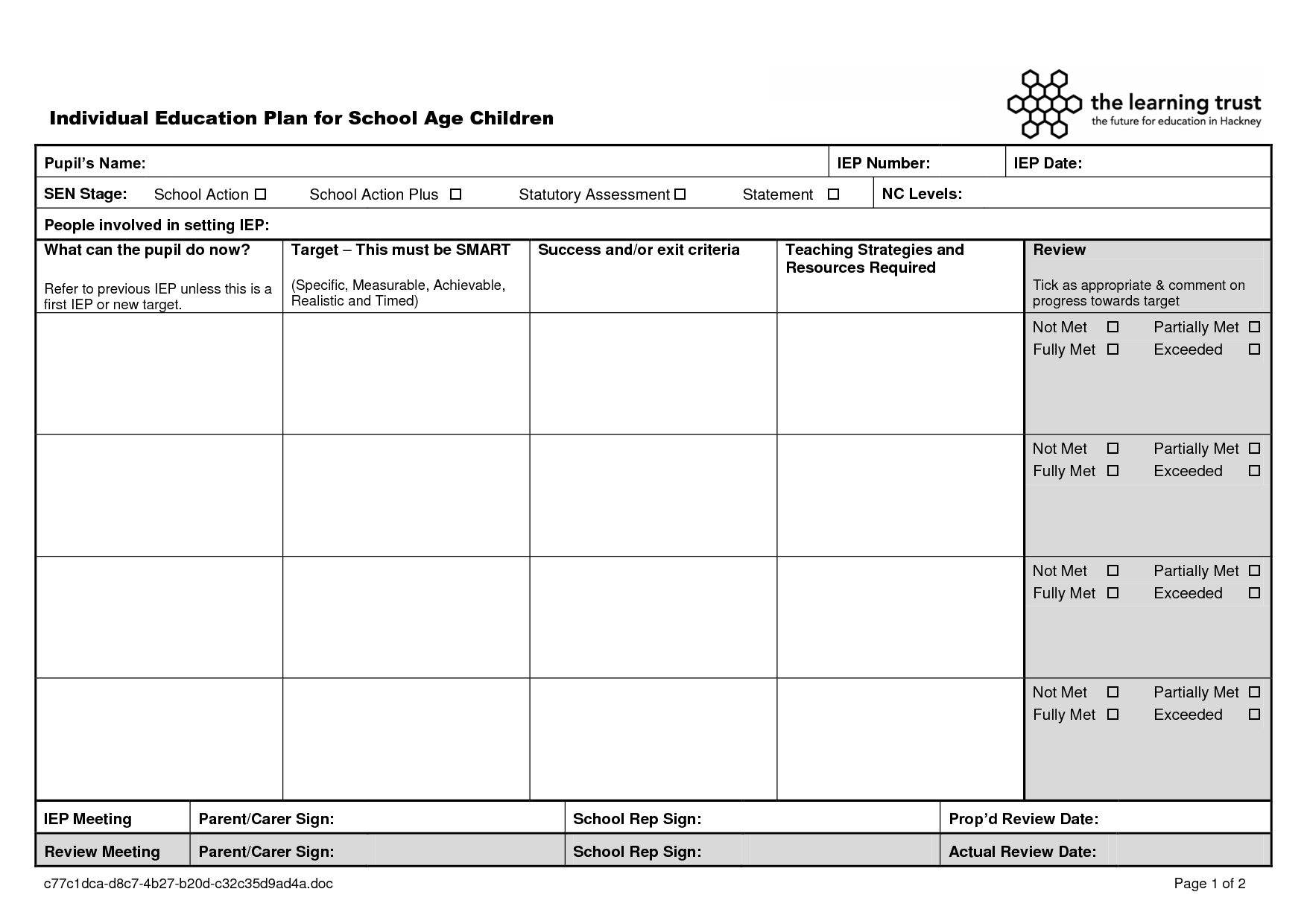 education templates | Individual Education Plan Template - School ...