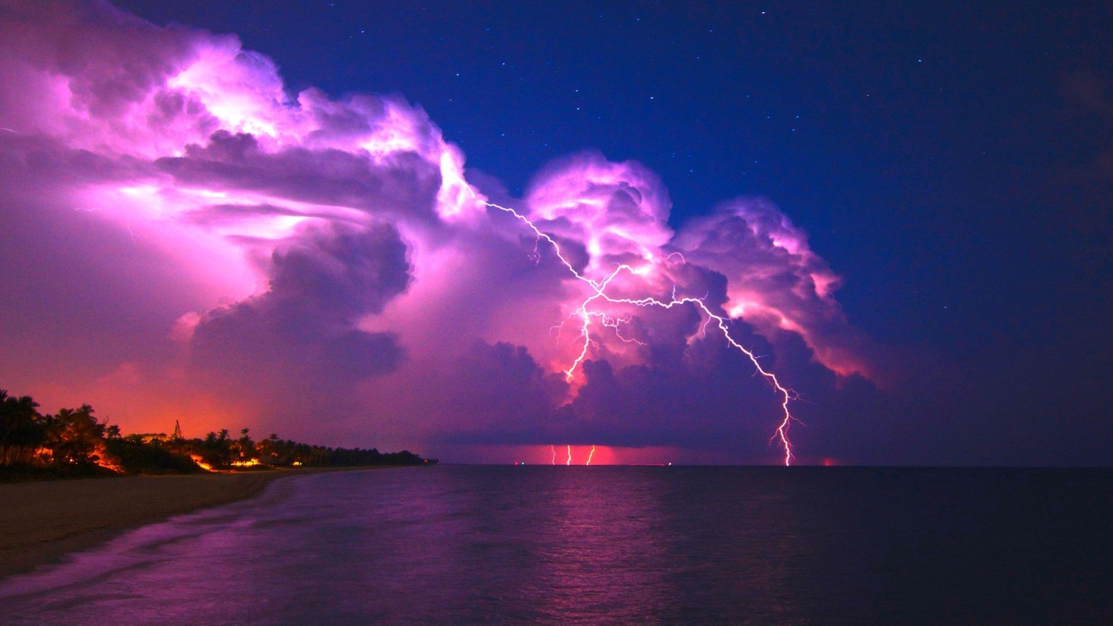 Download Wallpaper 3840x2160 Lightning Elements Coast Night Stars Clouds Clearly Sky 4k Ultra Hd Hd Background Clouds Storm Wallpaper Lightning Storm