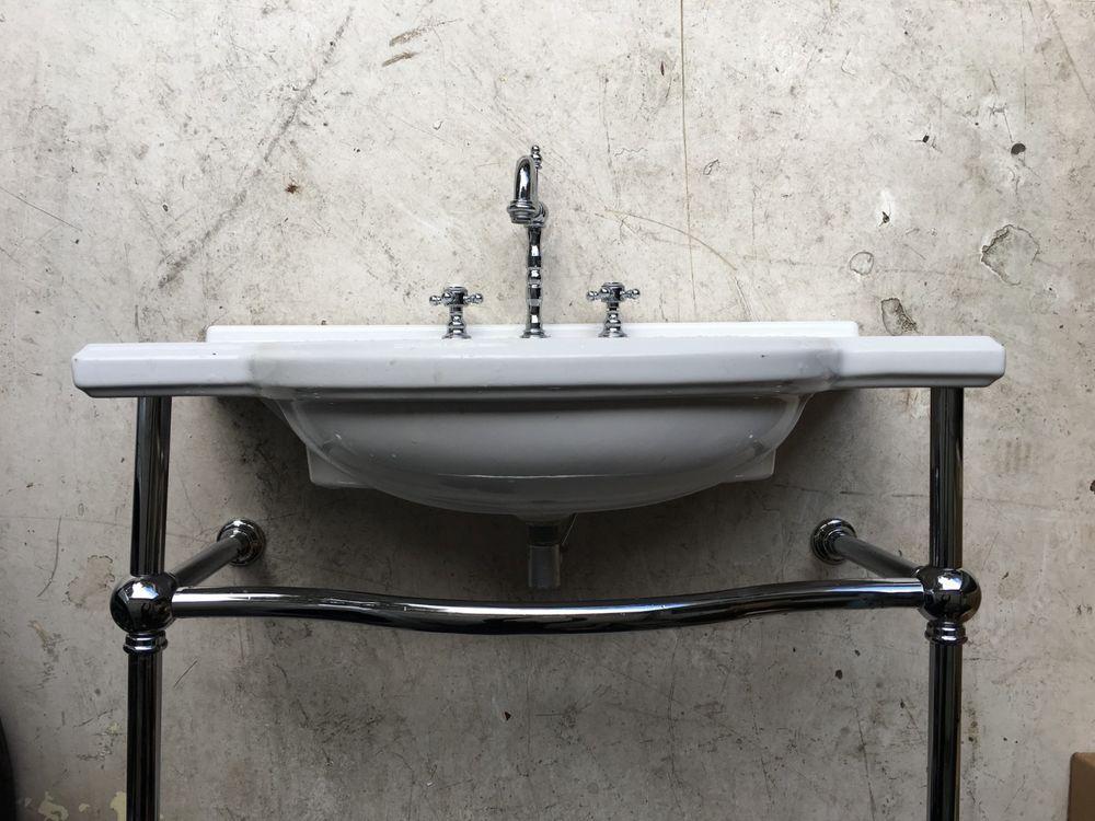 Vintage Porcelain And Chrome Pedestal Wall Mount Bathroom Sink