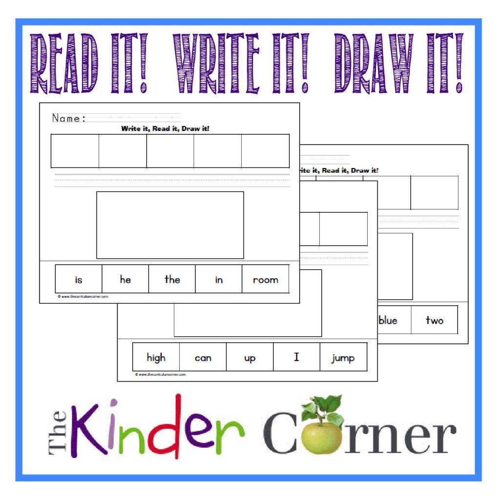 Pre Primer Dolch Word Read It Write It Draw It