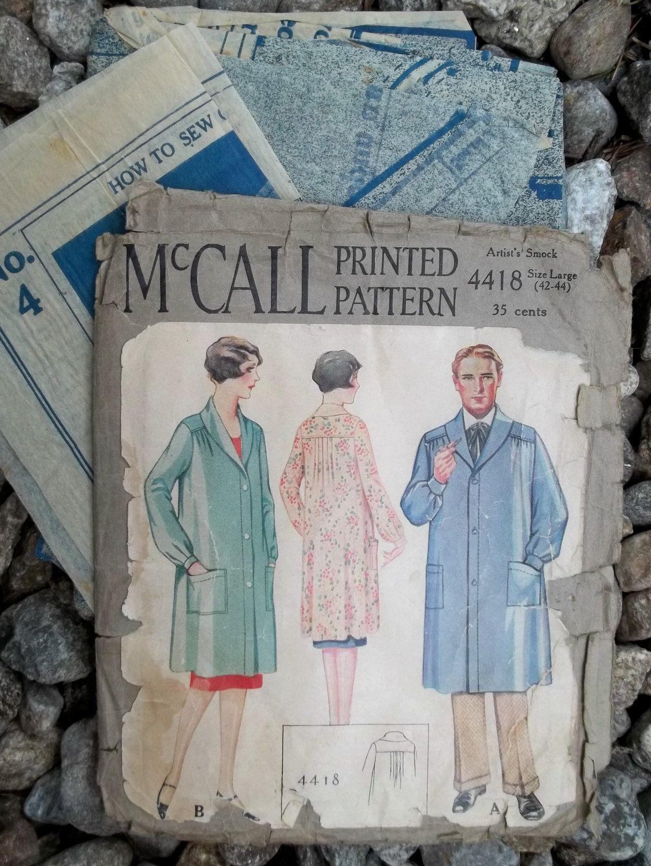 1920s Vintage Artist Smock Pattern McCall