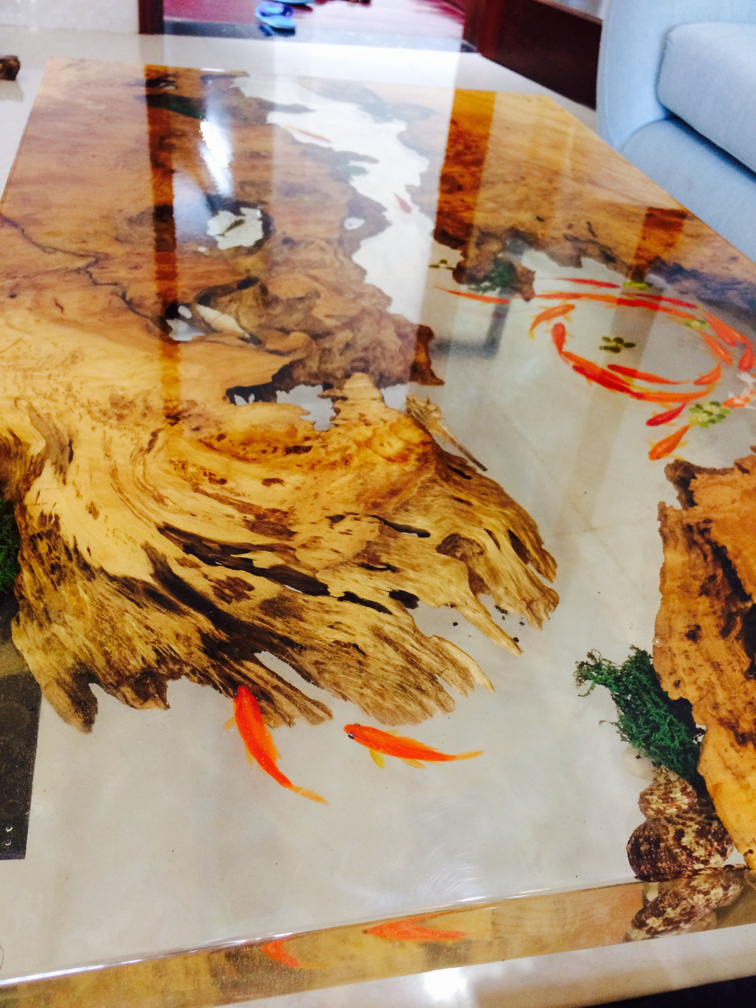 Reclaimed teak wood cracked resin side tables youtube - 3 D Fish Table