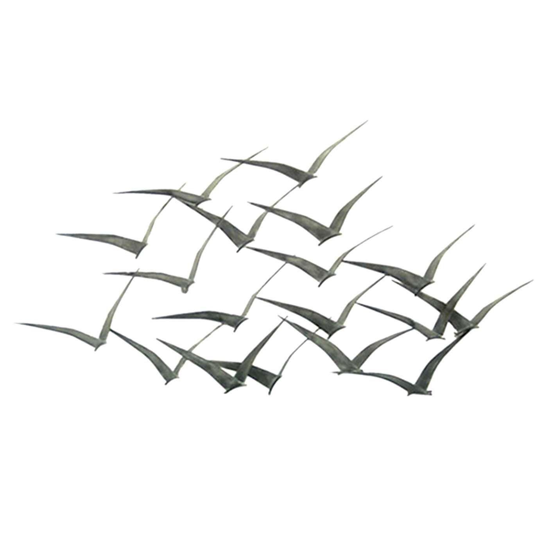 Wall Decor Metal Birds : Flock of metal flying birds wall art dunelm