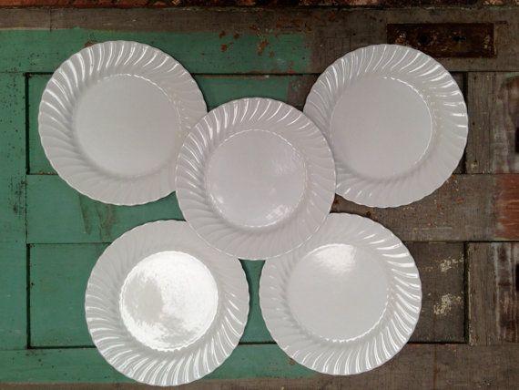 Johnson Brothers Regency White Swirl Five 5 Dinner Plates By 4good4good 25 00 Vintage Dinnerware Johnson Brothers Dinner Plates