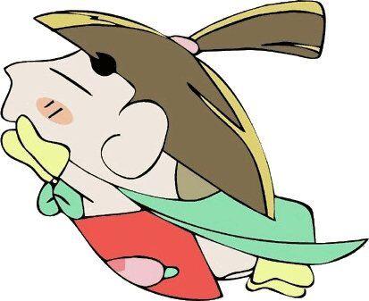 桃太郎になり空を飛んでいるおじゃる丸です。