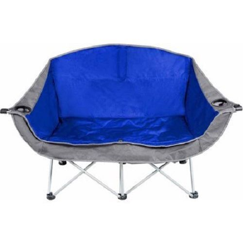 2 Person Love Seat Folding Camping Chair Oversize Tailgating Sports Events Blue Camping Accessories Camping Furniture Camping Chairs