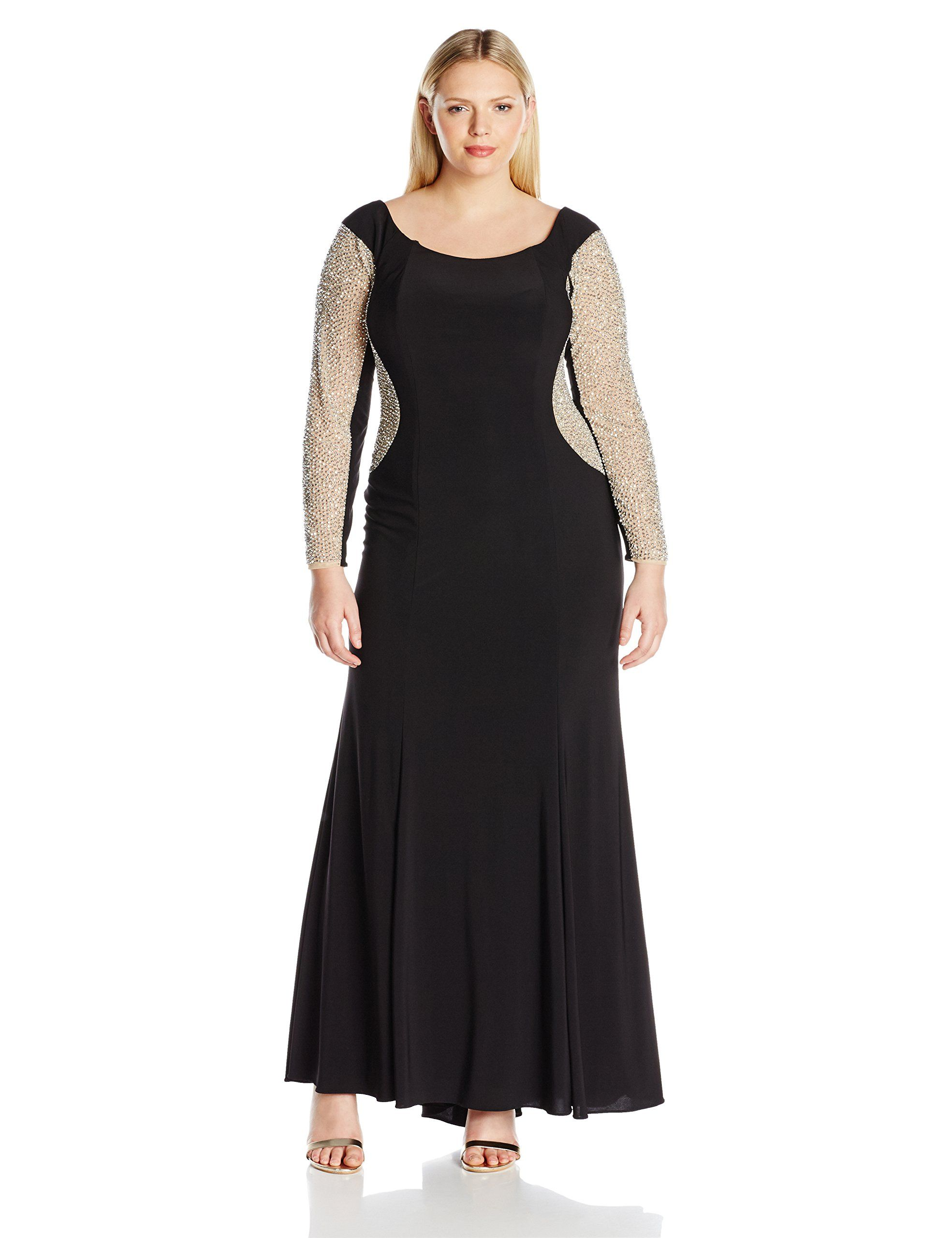 Xscape womenus plus size long off the shoulder ity with bead sleeves