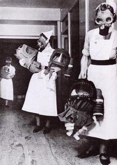 Nurses with gas masks and babies.