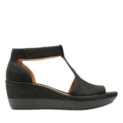 b7b374eed82f Wynnmere Avah Black Nubuck - Womens Wedge Sandals - Clarks® Shoes Official  Site