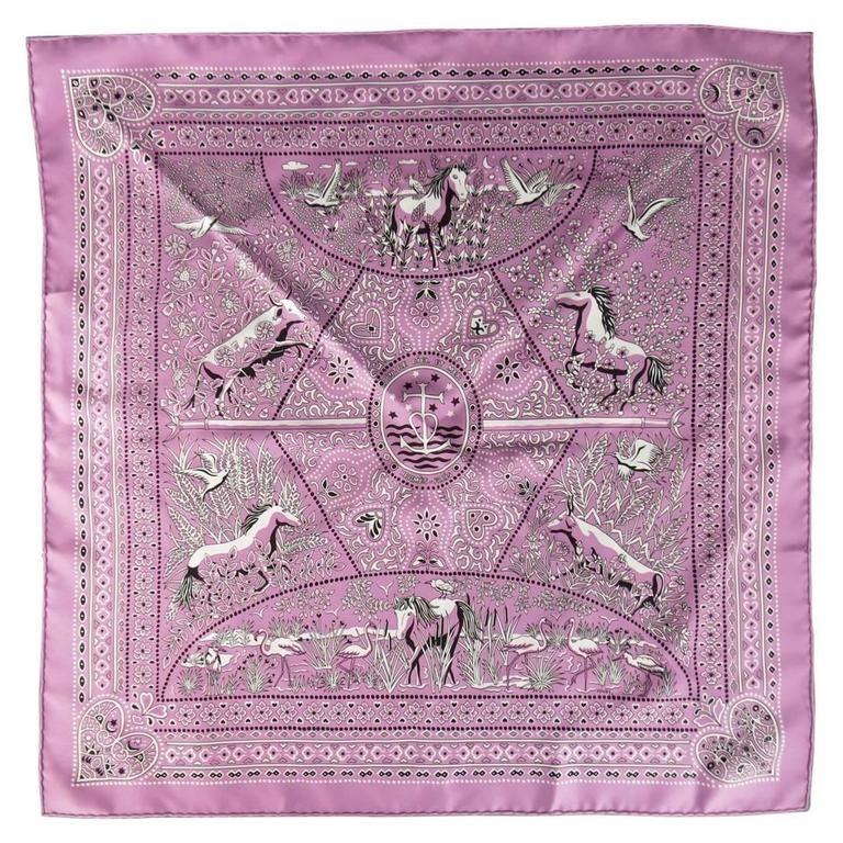 HERMES 'Entre Ciel et Mer' Lavender Violet Heart Animal Bandana Print Silk Scarf