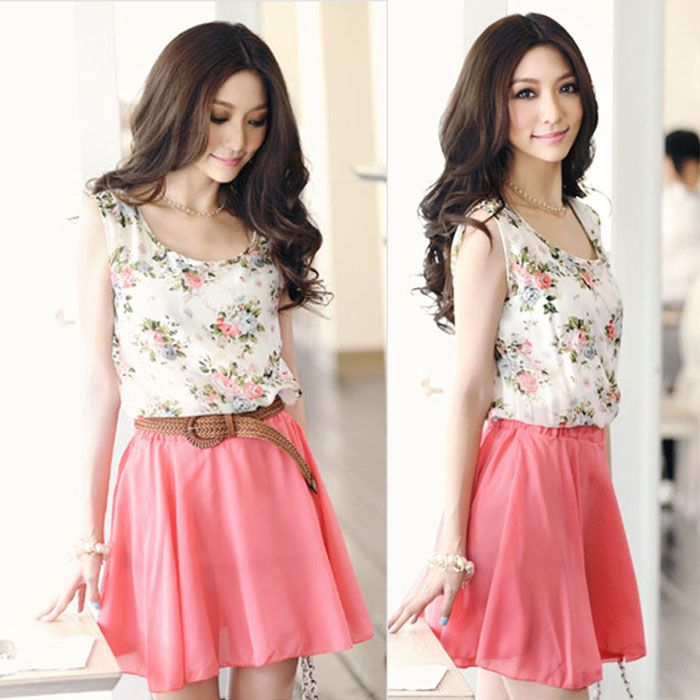 8987d2a265db Top Selling Free Shipping Lady Fashion Chiffon Flowers Pattern Dress ...