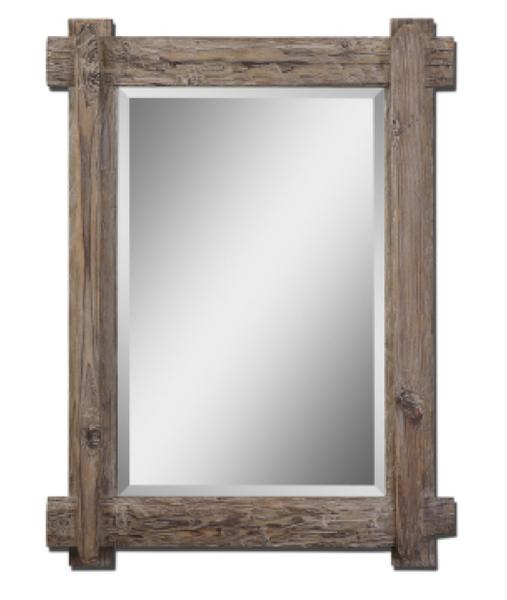 Rustic Wood Rectangular Mirror Distressed Wood Mirror Wood Framed Mirror Wood Mirror
