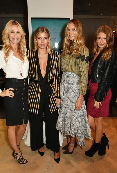 L to R Melissa Odabash Tash Oakley Elle Macpherson and Millie Mackintosh attend The Super Elixir 1st anniversary dinner at The Grace Restaurant at...