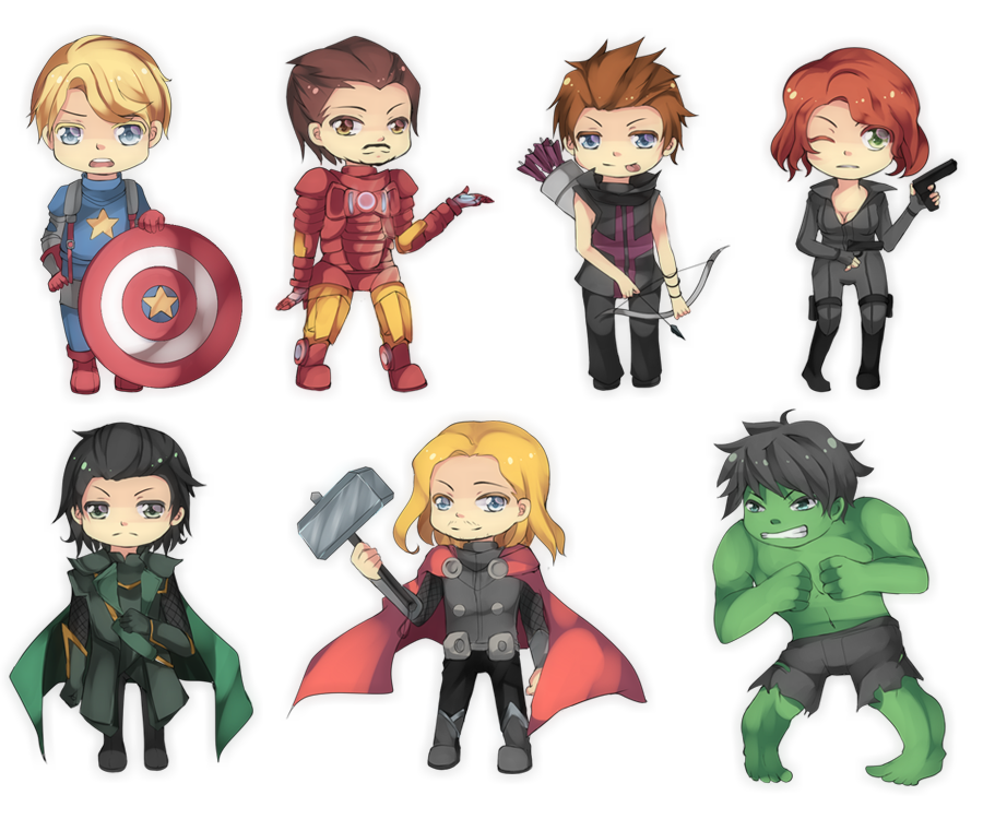 Chibi Avengers, adorable Avengers drawings, Marvel