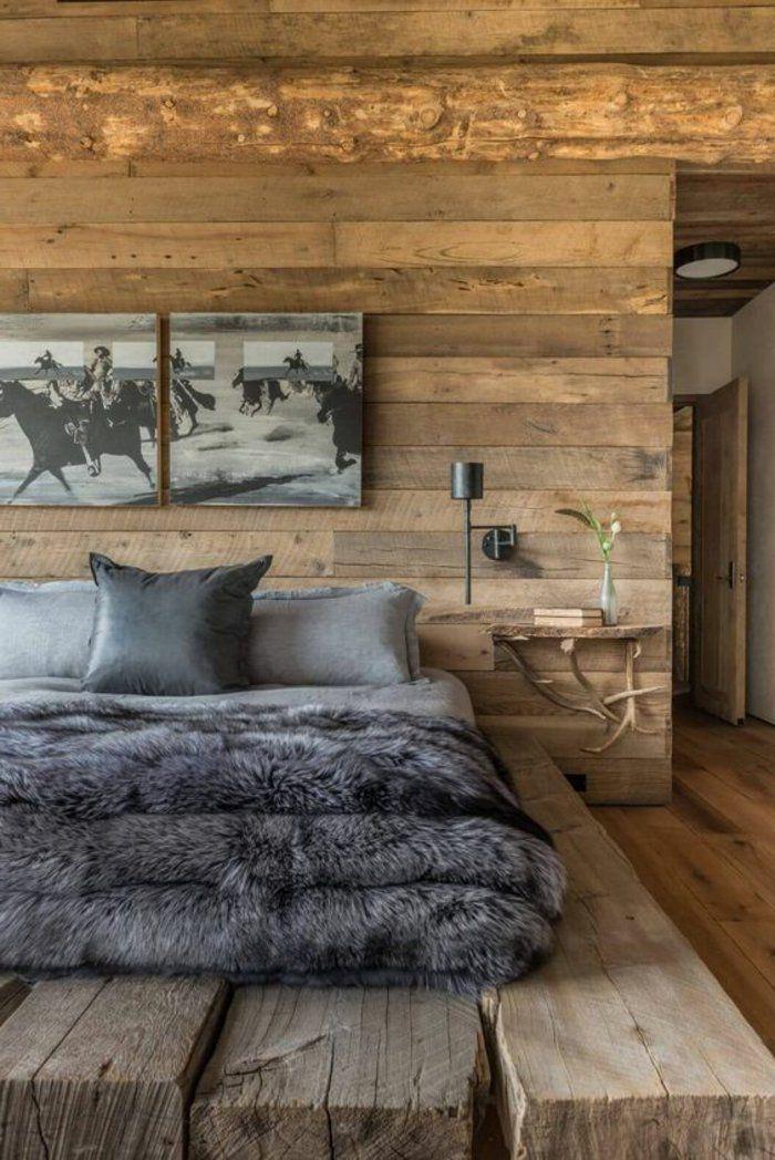 graue bettwäsche, graue decke zwei graue bilder rustikales zimmer, Schlafzimmer design