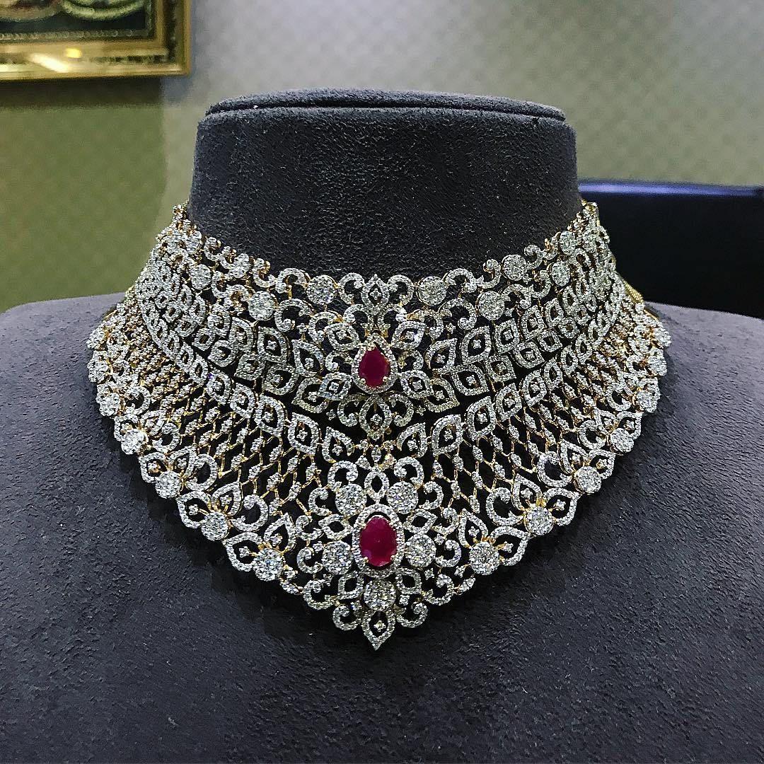 breathtaking heavy diamond necklace set designs goldieeeeeee