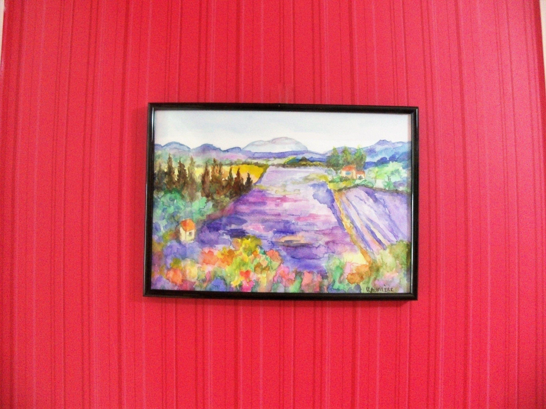 Aquarelle Paysage Lavande De Provence Paysage De Lavande Paysage