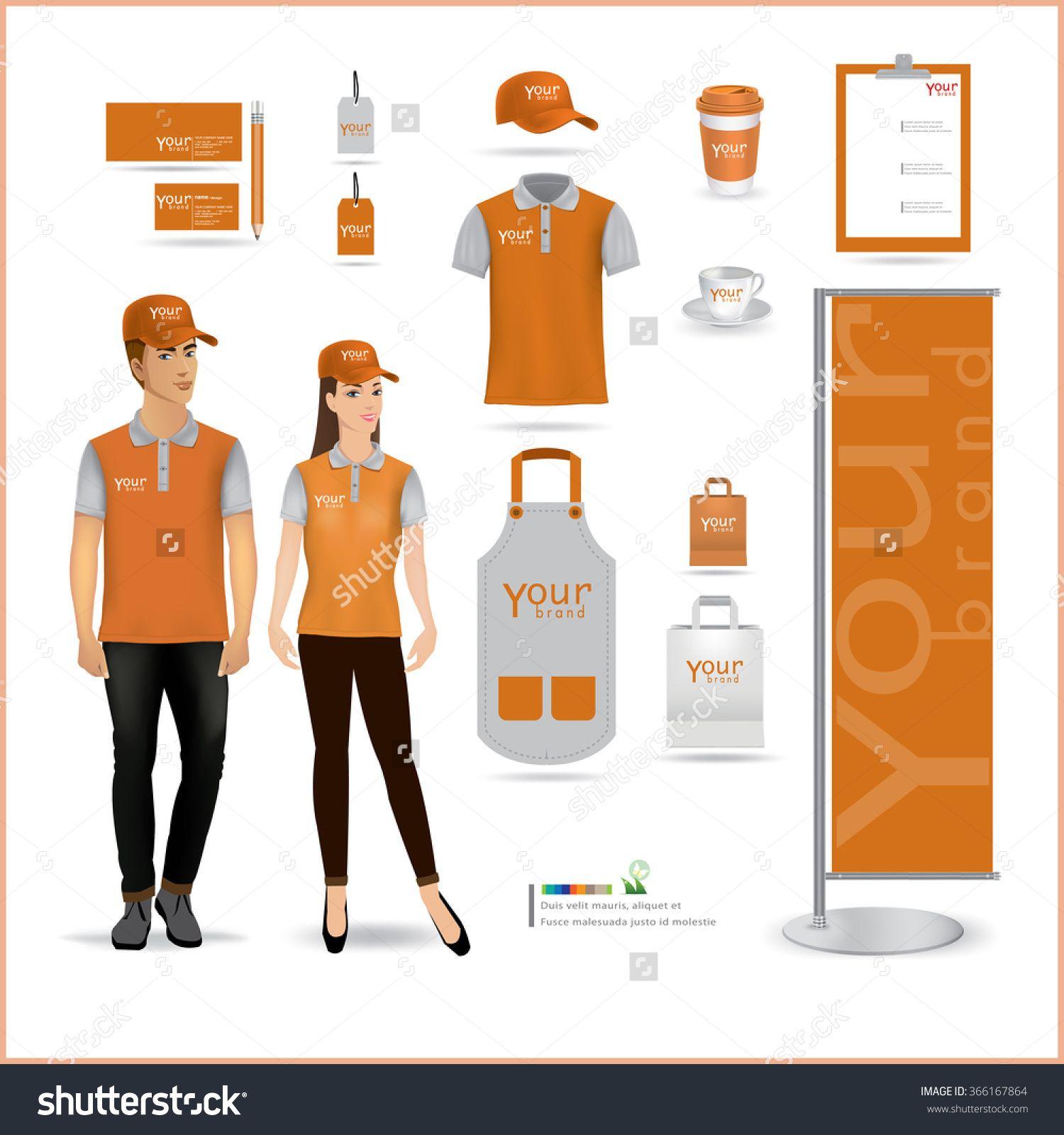 Vector Menu Package T Shirt Cap Uniform Design Layout Set Of Corporate Identity Mock Up Template Uniform Design Corporate Identity Clothing Mockup