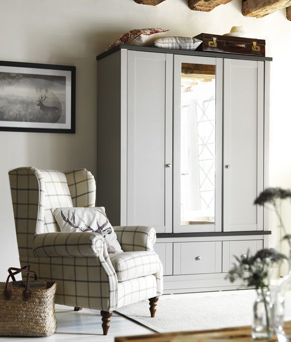 Great Home Inspiration Bedroom Ideas. Checked Armchair Next To Painted Effect 3  Door Wardrobe.