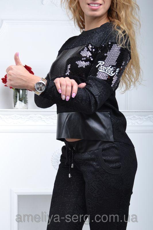 ac014da027f Гламурный спортивный костюм женский чёрный с паетками Турция S M L ...