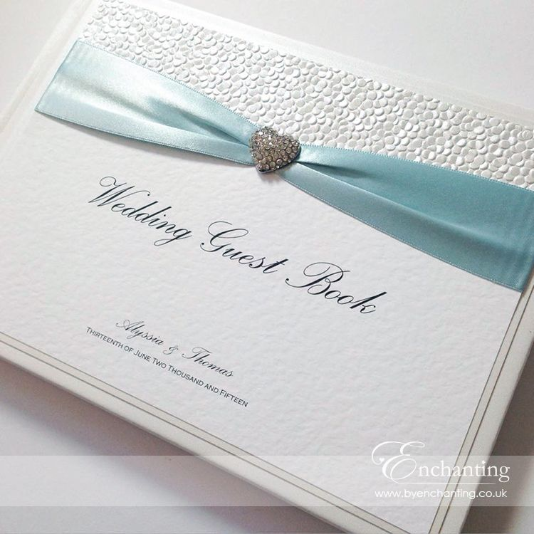 Ice Blue Wedding Stationery The Ariel Collection Guest Book Featuring White Pebble Paper Ribbon And Diamante Heart Embellishment Luxury