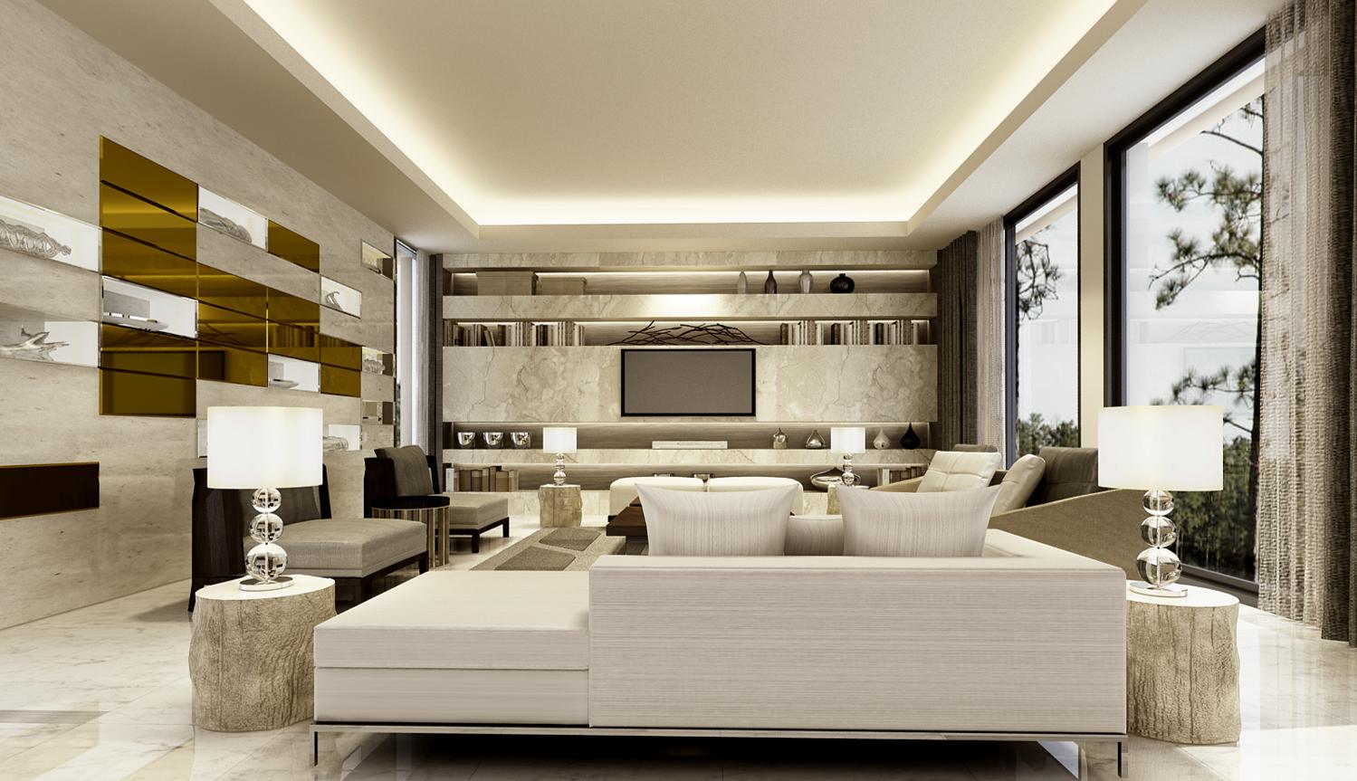 Home interior wall design contemporary luxury formal living room  home interior design