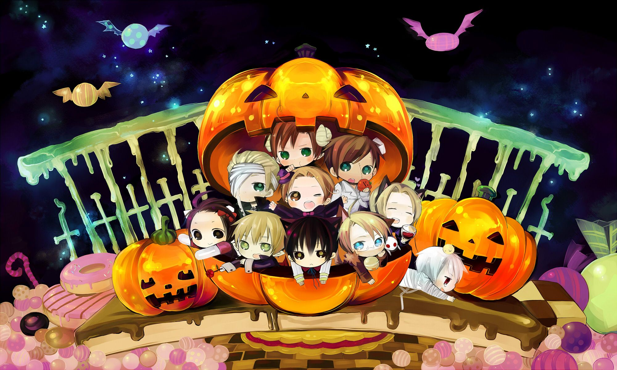 anime halloween chibi cartoon halloween short 21355walljpg - I Luv Halloween Manga