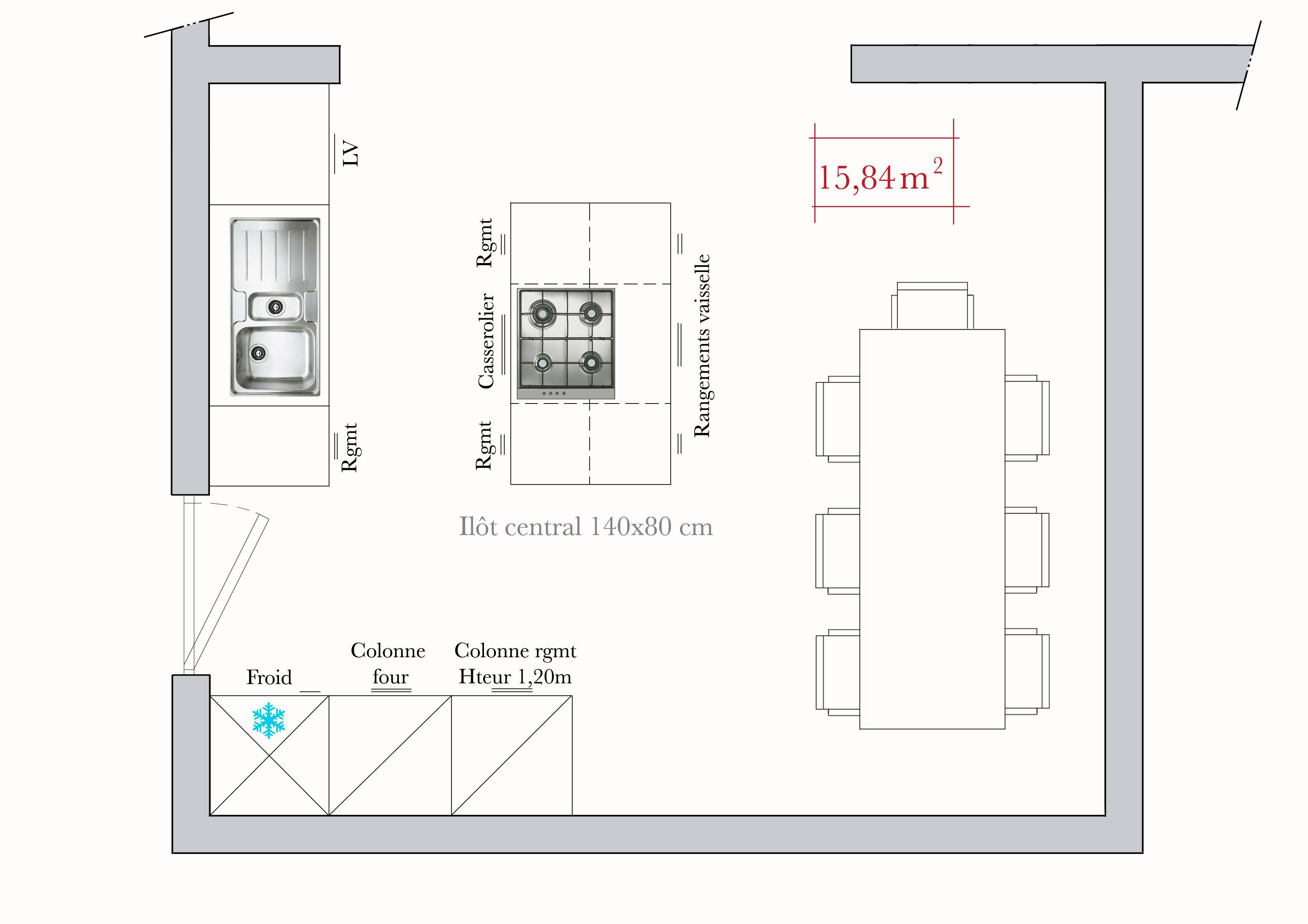 Hauteur Plan De Travail conseils d'architecte : 4 plans de cuisine en îlot | plan
