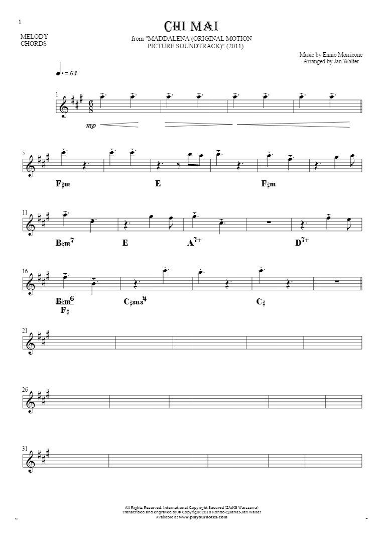 Chi mai notes and chords for solo voice with accompaniment chi mai notes and chords for solo voice with accompaniment hexwebz Choice Image