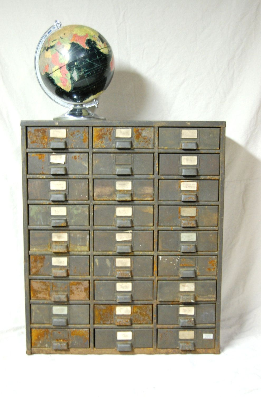 Large Rustic 27 Drawer Metal Cabinet 200 00 Via Etsy