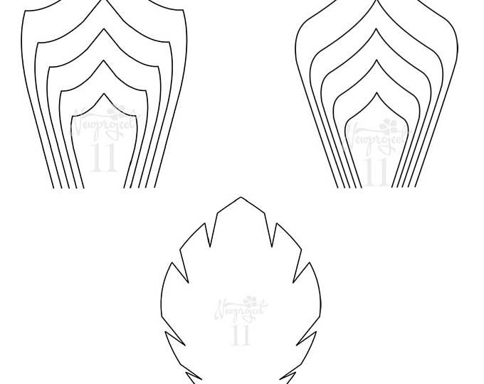 PDF Set of 2 Flower Templates and 1 Leaf Template Giant Paper - leaf template